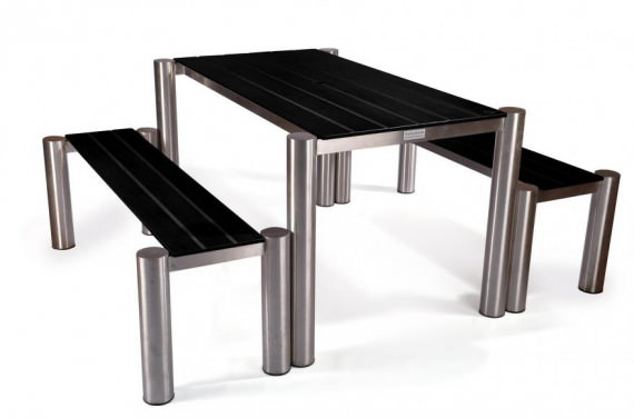 Mono Stainless Steel Table & Bench Set