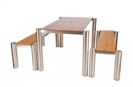 Classic Stainless Steel Table & Bench Set